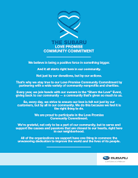 charity commitment letter subaru love promise begins with mckenna subaru in huntington beach ca the subaru love promise