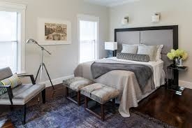 contemporary upholstered headboard bedroom transitional with floor