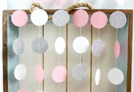 silver party favors silver glitter white pink 10 ft circle paper garland wedding
