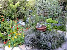cool very attractive design herb garden with yellow red purple
