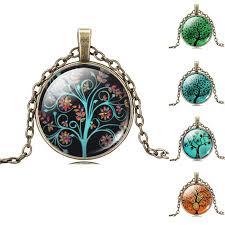 art glass necklace images Life tree pendant necklace eternal tree art glass cabochon bronze jpeg