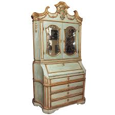 18th c paint and parcel gilt mirrored door secretary bookcase at