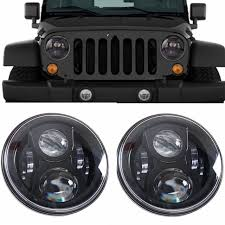 round led lights for jeep 7 inch round led headlight bulb black for jeep wrangler jk cj lj