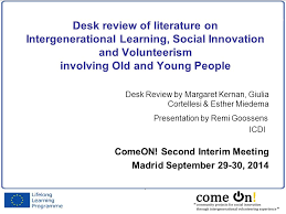 Desk Review Desk Review Of Literature On Intergenerational Learning Social