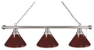 Burgundy 3 Shade Billiard Light With Chrome Fixture Contemporary