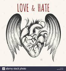 love u0026 tattoo human heart with wings and wording vector