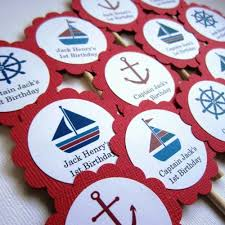 personalized cupcake toppers nautical cupcake toppers personalized adorebynat on artfire