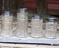 primitive kitchen canisters unique primitive rustic 4 pc glass canister set hoosier kitchen