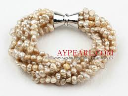 multi pearl bracelet images Strands 3 4mm champagne freshwater pearl bracelet with big jpg
