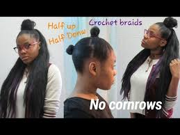 Half Up Half Down Hairstyles Black Hair Diy How To Half Up Half Down Crochet Braids No Cornrows Youtube