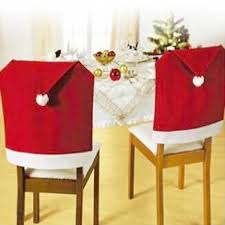 christmas chair back covers santa claus hat chair back cover christmas dinner 4 pcs dealeaz