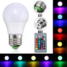 3w e27 b22 dimmable rgb led light color changing l bulb 24 key