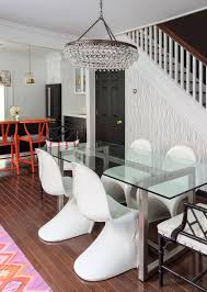 cottage dining room update design manifestdesign manifest design manifest dining room black white abstract geometric wallpaper glass dinig table panton chairs calypso teardrop