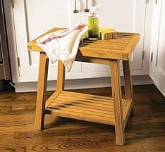Amazoncom New Grade A Teak Bath Stool Or Side Table Or Shower - Kitchen side table