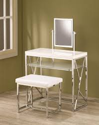 silver vanity table set rectangle white wooden vanity with glass shelf and rectangle