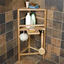bathroom caddy ideas freestanding teak corner shower shelf with removable soap dish