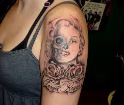 chris brown leg tattoo half face half skull female tattoo 3d tattoodesign pinterest