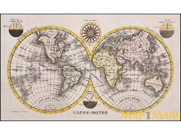 Map Rose Mappemonde World Map Compas Rose Globe Into Two Hemispheres Old