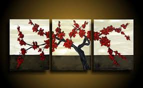 awesome looking flowers wonderful wall art designs asian wall art red flowers branch three