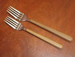brown plastic handles with wood grain look vintage silverware