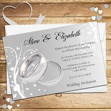 e wedding invitations 10 personalised silver rings wedding invitations n44 co uk