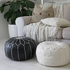 decor moroccan black and white leather pouf for living room decor