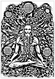 psychedelic monk meditation psychedelic coloring pages for