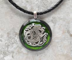 men necklace leather images Celtic seahorse necklace green men from naturewithyou on etsy jpg