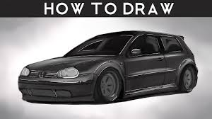 volkswagen drawing how to draw a vw golf mk4 step by step rr drawingpat youtube