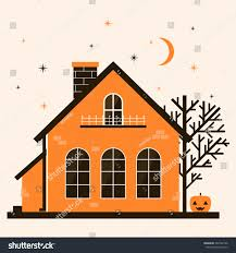 cute halloween background vectors illustration cute cartoon halloween house pumpkin stock vector