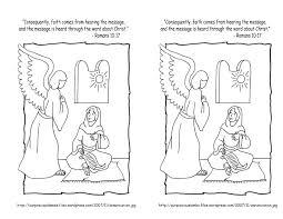 angel gabriel visits mary coloring page inside and coloring page