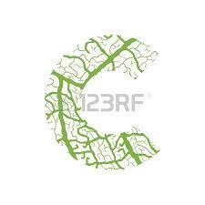 nature alphabet ecology decorative font capital letter c filled