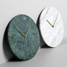 home decoration marble table clock metal accessories desk clock