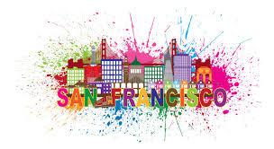 san francisco skyline paint splatter vector illustration stock