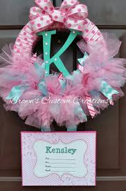 baby shower wreath pink tulle baby shower wreath birth announcement wreath with