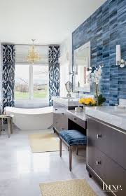 Accent Wall In Bathroom Eclectic White Bathroom With Blue Tile Accent Wall Luxe