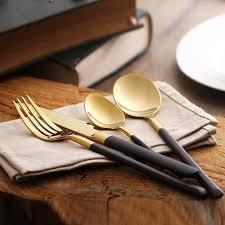 kitchen forks and knives black gold cutlery set 4pcs set stainless steel forks