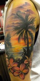 landscape beach palm trees frangipani sunset half sleeve