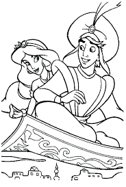 jasmine aladdin wedding coloring pages flying smiling