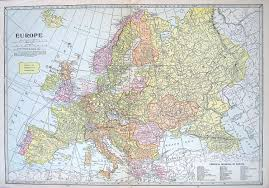 World Map Of Europe by Old Vintage Map 1921 Map Of Europe Print From World Map Book