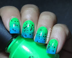 nail loopy fluorescent neon green u0026 blue gradient nails