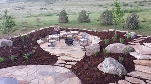 flagstone patio fire pit indian run landscaping natural flagstone