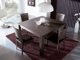 minimalist room with wooden extendable dining table also chairs