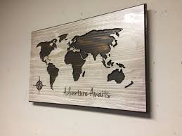 Etsy World Map by Adventure Awaits Decor Nursury Room Carved World Map Wall Art