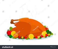 roast turkey herbs cranberries day thanksgiving stock vector