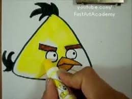 angry bird yellow draw color easy simple tutorial