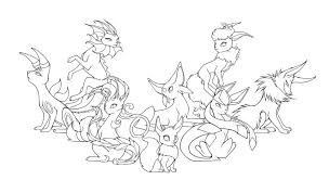printable pokemon coloring pages eevee evolutions kids