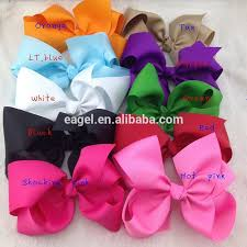 ribbon hair bands 8inch high quality boutique ribbon hair bows with elastic rubber