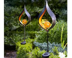 flower solar stake lights aura flame globe stake solar lights scotts of stow