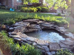 simple diy concrete backyard waterfall decor ideas with grave and